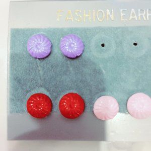 Plastic Floral Fashion Earring Set